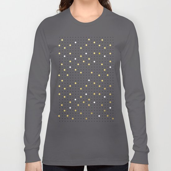 Pin Points Grey, Gold and White Long Sleeve T-shirt