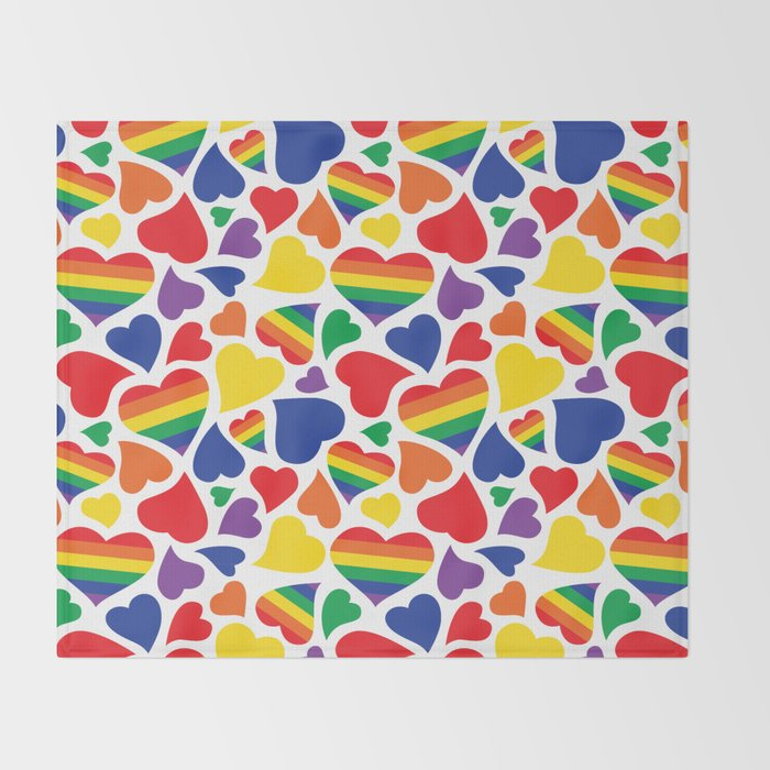 938d3d4a Retro Rainbow LGBT Pride Hearts Throw Blanket by wingmarksdesigns ...