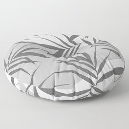 White grey leaves collage 1 Floor Pillow