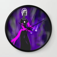 homestuck Wall Clocks featuring Grimdark Rose by Paula Urruti