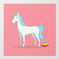 poop Canvas Prints featuring Unicorn Poop by See Mike Draw
