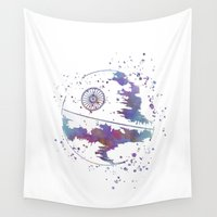 death star Wall Tapestries featuring Star . Wars Death Star by Carma Zoe