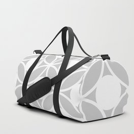 Geometric Orbital Spot Circles In Pastel Grey & White Duffle Bag