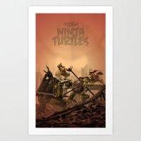ninja turtles Art Prints featuring Teenage Mutant Ninja Turtles by s2lart