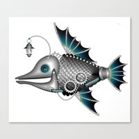 steam punk Canvas Prints featuring steam punk fish by Elena Trupak