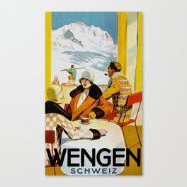 Vintage Wengen Switzerland Travel Canvas Print