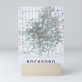 Rockford, IL, USA, White, City, Map Mini Art Print
