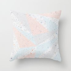Soft terrazzo pastel with abstract geometric triangles Throw Pillow