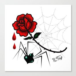 Black Widow Spider with Red Rose Canvas Print