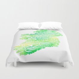 Typographic Ireland - Green Watercolor map Duvet Cover