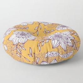 Dahlia Flowers - Orange and Purple Floor Pillow
