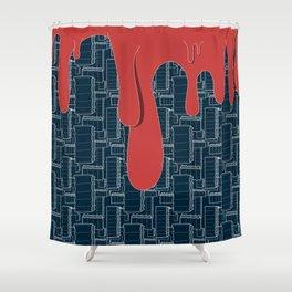 Drips (navy) Shower Curtain
