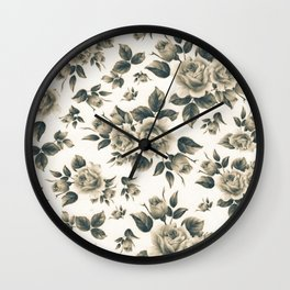Country chic vintage black white bohemian floral Wall Clock