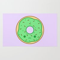 doughnut Area & Throw Rugs featuring Yummy green kawaii doughnut by peppermintpopuk