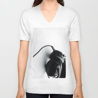 headphones V-neck T-shirts featuring Headphones. by CATHERINE DONOHUE