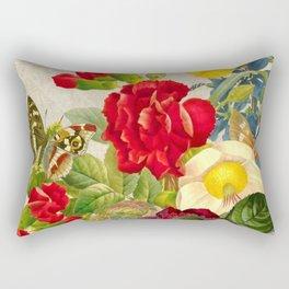 vintage flower butterfly art rose Rectangular Pillow
