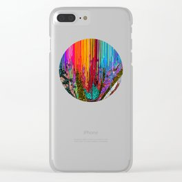Peacock Mermaid SUNSET Abstract Geometric Clear iPhone Case