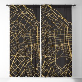 BUENOS AIRES ARGENTINA GOLD ON BLACK CITY MAP Blackout Curtain