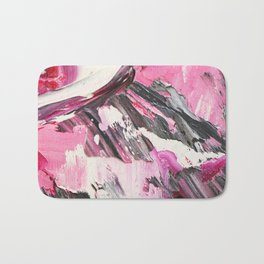 Pink and Grey Oil Paint Bath Mat