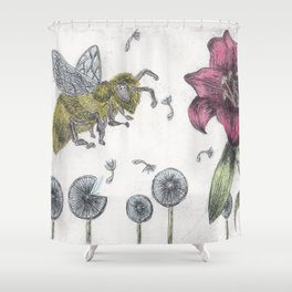 Bee Happy 2 Shower Curtain
