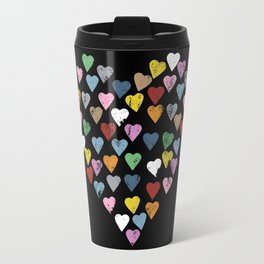 Distressed Hearts Heart Black Travel Mug