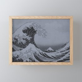 Silver Japanese Great Wave off Kanagawa by Hokusai Framed Mini Art Print