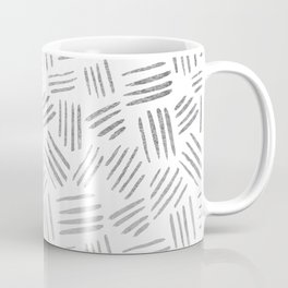 Elegant geometrical faux silver stripes pattern Coffee Mug