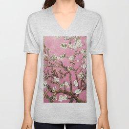 Vincent van Gogh Blossoming Almond Tree (Almond Blossoms) Pink Sky Unisex V-Neck