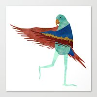 parrot Canvas Prints featuring Parrot by Jade Young Illustrations