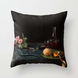 Orange and roses still life Throw Pillow