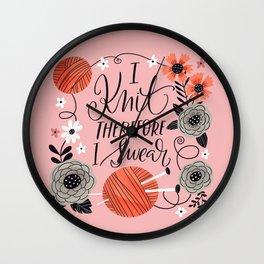 I Knit therefore I Swear Wall Clock