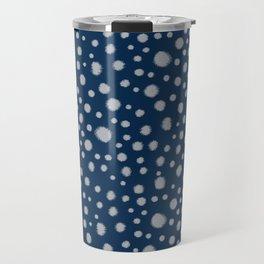 Navy painted dots polka dots minimal basic decor grey and blue pattern Travel Mug