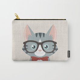 Grey Tabby Hipster Cat Carry-All Pouch