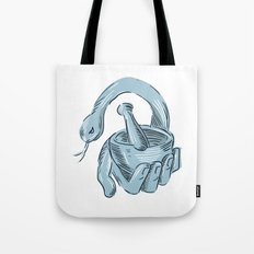 Hand Holding Mortar and Pestle Snake Drawing Tote Bag