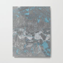 Blue and Gray Marble Metal Print