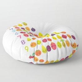 numbers for preschool kindergarten kids kawaii fruit from one to ten Floor Pillow