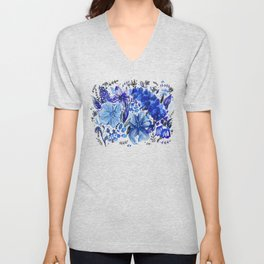 Blue flowers galore Unisex V-Neck