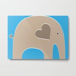 Blue Safari Elephant Metal Print