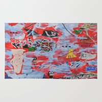 basquiat Area & Throw Rugs featuring The Wild Ones inspired by Jean-Michel Basquiat by T.E.Perry