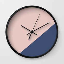 Soft Pink Plus Dark Blue - oblique Wall Clock