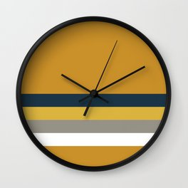 4 Stripe Minimalist Color Block Solid in Light Mustard, Navy Blue, Gray, White, and Dark Mustard Wall Clock