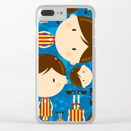 Cartoon Soccer Player Pattern Clear iPhone Case
