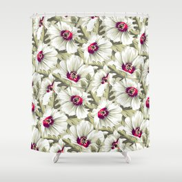 New Zealand Hibiscus Floral Print (Day) Shower Curtain