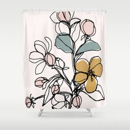 Petals and Leaves, Line Drawing with Pops of Color Shower Curtain