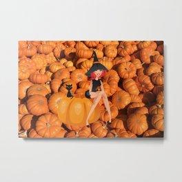Halloween Witch and Pumpkins Metal Print
