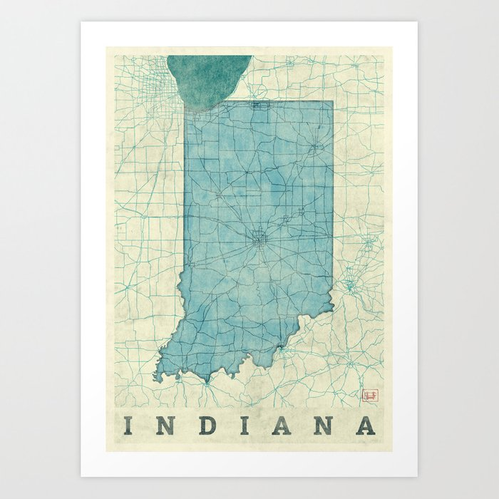 Indiana State Map Blue Vintage Art Print