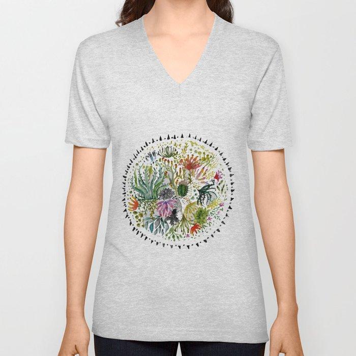 Succulents Mandala Unisex V-Ausschnitt