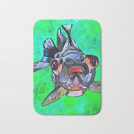 Cartoon Style Blackmoor Goldfish With Gaping Mouth Bath Mat