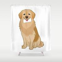 golden retriever Shower Curtains featuring Love Golden Retriever by Ball Ball and friends