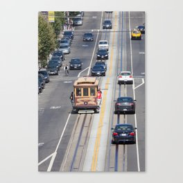 View of a trolly car in downtown San Francisco Canvas Print